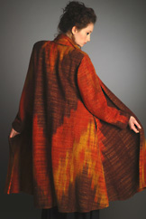 Handwoven silk ikat Swing Coat by Candiss Cole - Embers